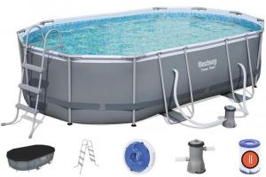 Каркасный бассейн Bestway 56448 Oval Power Steel Pool 488х305х107 см